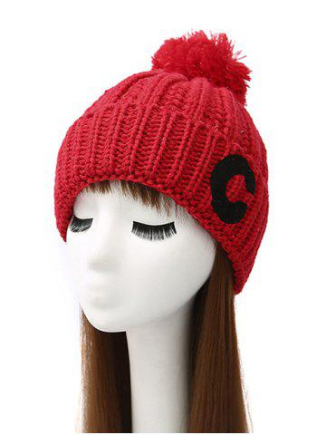 Chic Pom Ball Letter C Knitted Beanie