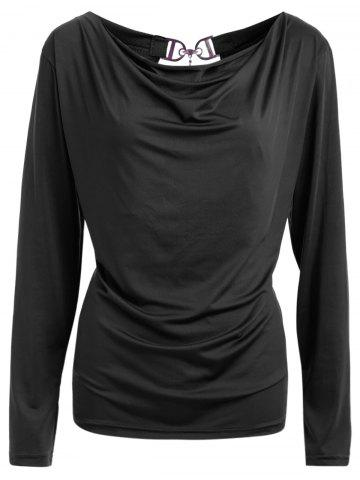 Fancy Open Back T-Shirt and Tube Top BLACK M