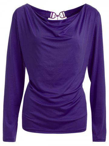 Hot Open Back T-Shirt and Tube Top PURPLE L