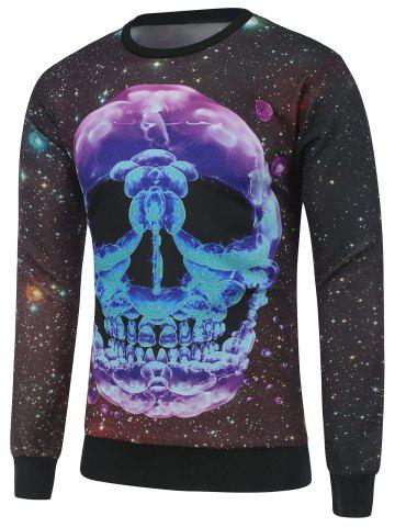 Trendy Skull Print Crew Neck Galaxy Sweatshirt BLACK M