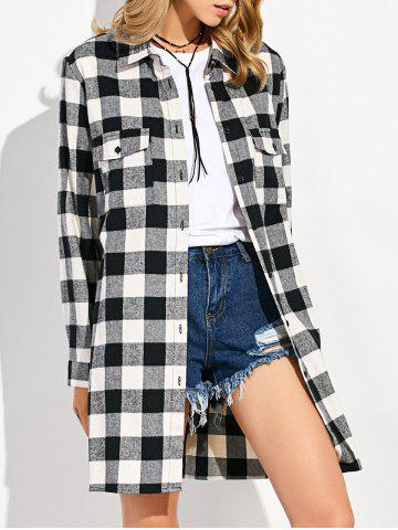 New Gingham Plaid Long Flannel Shirt WHITE AND BLACK L