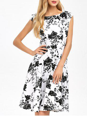 Store Floral Print Fit and Flare Vintage Dress