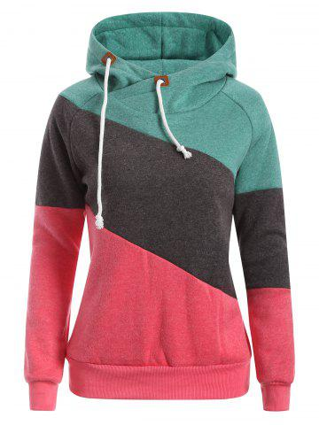 Unique Raglan Sleeve Drawstring Color Panel Hoodie RED AND GREEN 2XL