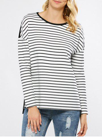 Affordable Zip Side Striped High Low T-Shirt
