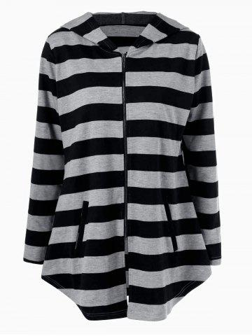 Outfits Plus Size Vertical Pockets Striped Hoodie