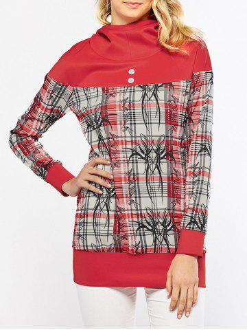 Cheap Plaid Trim Button Embellished Hoodie