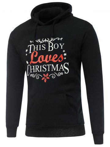 Fancy Long Sleeve Christmas Graphic Hoodie BLACK 3XL