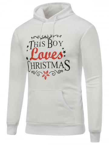 Store Long Sleeve Christmas Graphic Hoodie WHITE L