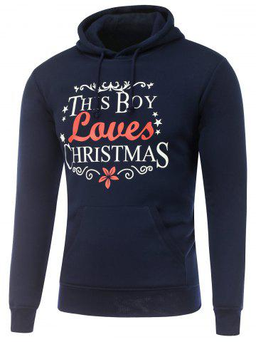 Chic Long Sleeve Christmas Graphic Hoodie CADETBLUE L