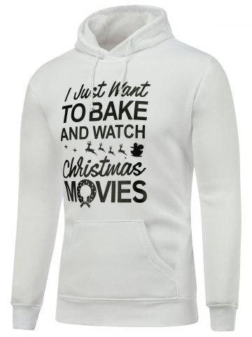 Cheap Hooded Long Sleeve Christmas Graphic Hoodie WHITE L
