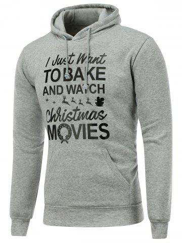 Discount Hooded Long Sleeve Christmas Graphic Hoodie - L GRAY Mobile