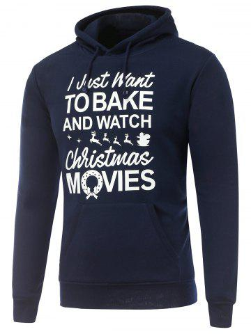 Hooded Long Sleeve Christmas Graphic Hoodie - CADETBLUE 3XL