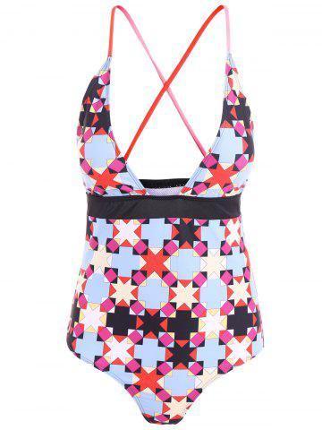 Shop Geometric Print Criss Cross Backless Swimwear