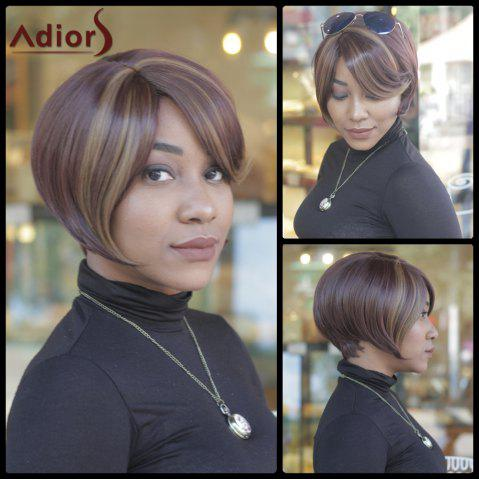 Shop Trendy Dark Brown Highlight Synthetic Side Bang Straight Capless Women's Short Wig COLORMIX