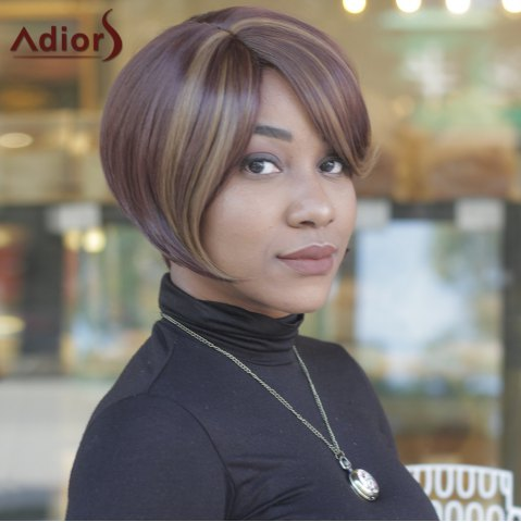 Unique Trendy Dark Brown Highlight Synthetic Side Bang Straight Capless Women's Short Wig - COLORMIX  Mobile