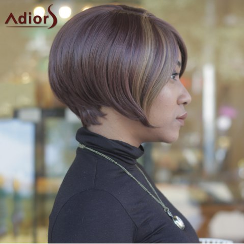 Outfits Trendy Dark Brown Highlight Synthetic Side Bang Straight Capless Women's Short Wig - COLORMIX  Mobile