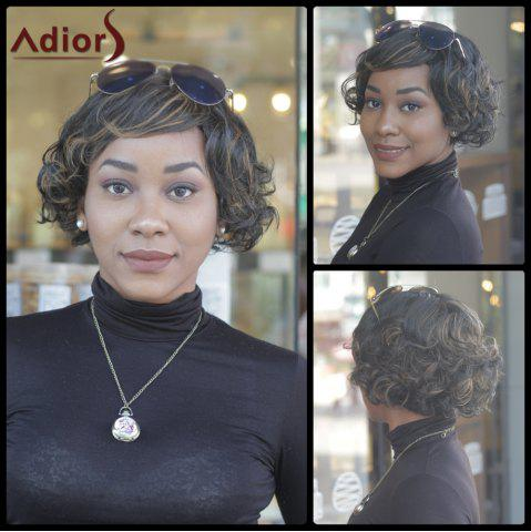 Shops Prevailing Synthetic Short Curly Mixed Color Side Bang For Women