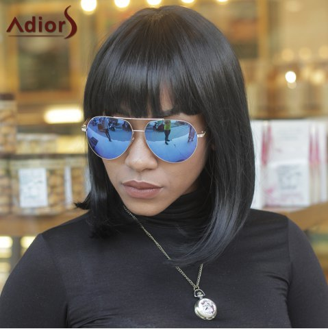 Store Unprocessed Medium Full Bang Straight Black Women's Synthetic Hair Wig