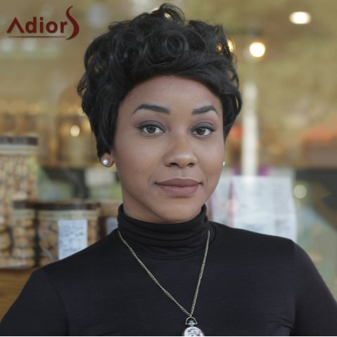 Chic Short Curly Inclined Bang High Temperature Fiber Wig
