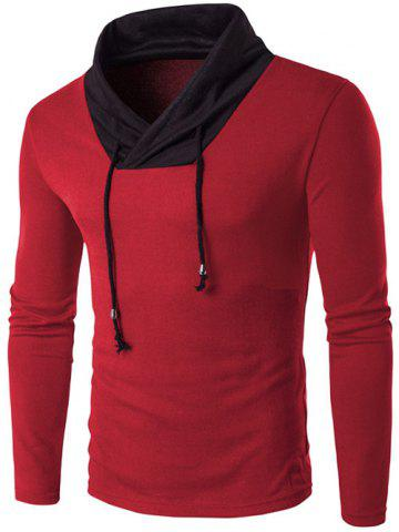 Unique Stand Collar Color Block Knitted T-Shirt RED 2XL