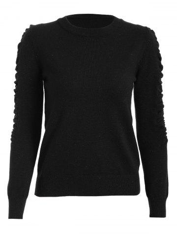 Cheap Ruched Crew Neck Knit Sweater