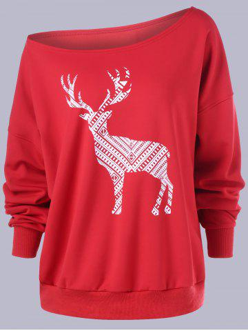 Shop Plus Size Fawn Print Skew Collar Sweatshirt - 4XL RED Mobile