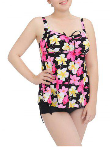 Outfit Cami Floral String Cut Out Tankini Set YELLOW 6XL