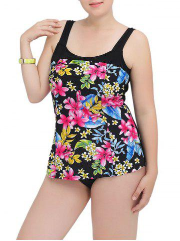 Chic Floral Square Neck One-Piece Swimwear LIGHT PINK 5XL