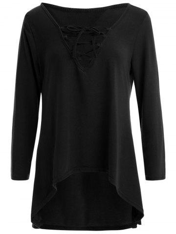 Cheap Long Sleeve Hooded Front Lace Up T-Shirt