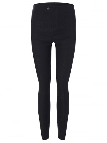 Chic Elastic Skinny Ninth Pants with Pockets BLACK 3XL