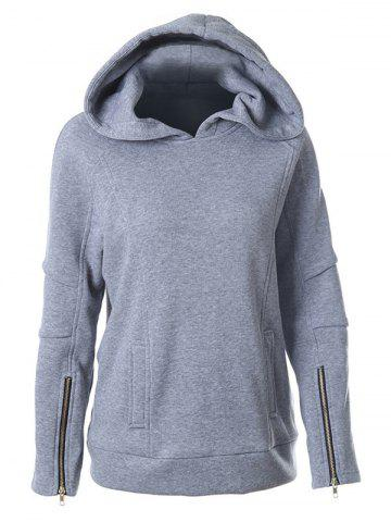 Affordable Hooded Raglan Sleeve Hoodie GRAY XL