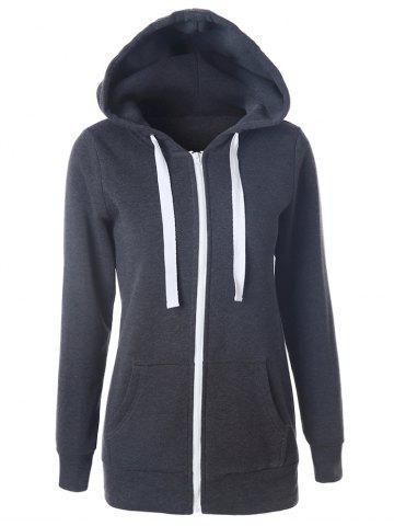 Fashion Pocket Hooded Drawstring Zipper Hoodie