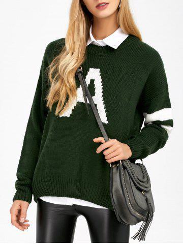 Buy Letter A Striped Drop Shoulder Sweater