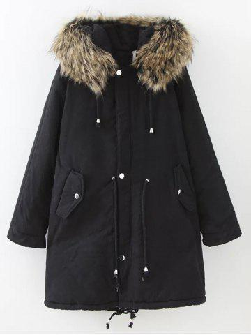 Buy Plus Size Drawstring Parka Long Jacket - Black 4XL