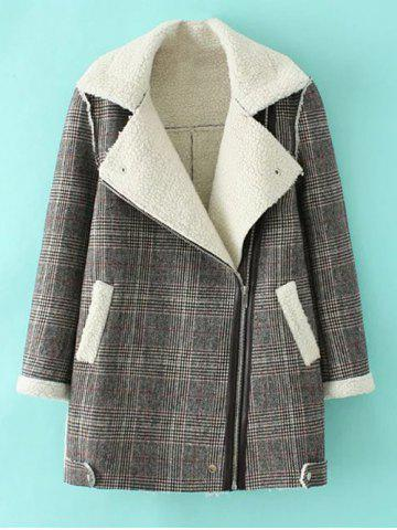 Unique Checked Plus Size Lamb Long Wool Coat GRAY 3XL