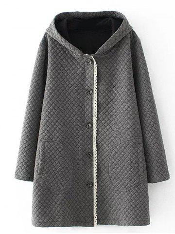 Affordable Plus Size Quilted Long Jacket with Hood