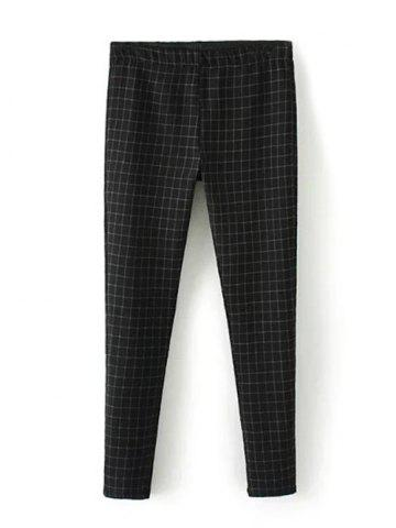 Shop Plus Size Plaid Skinny Pants BLACK 4XL