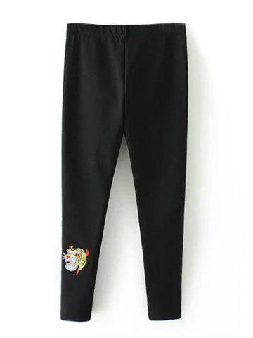 Shop Plus Size Embroidered Skinny Pants BLACK 4XL