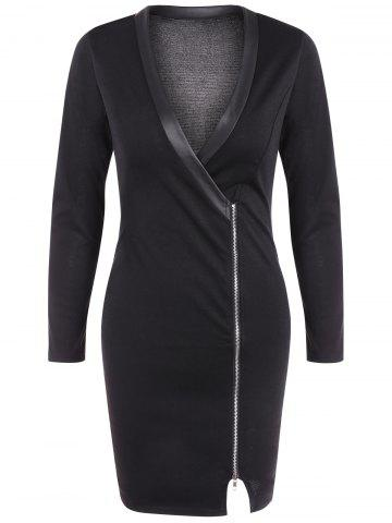 Affordable V Neck Zipper Front Bodycon Dress