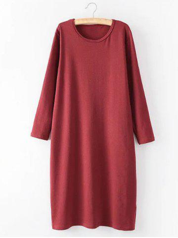 New Casual Plus Size Long Sleeve Midi Shift Dress