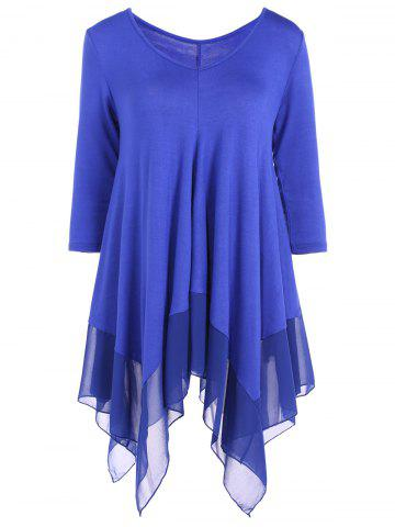 Outfits Asymmetrical V Neck Chiffon Panel T-Shirt