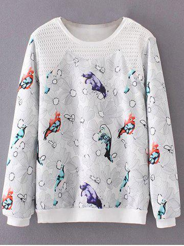 Unique Plus Size Bird Floral Print Sweatshirt