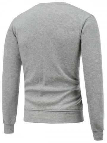 Outfit Crew Neck Long Sleeve Christmas Pockets Print Sweatshirt - M GRAY Mobile