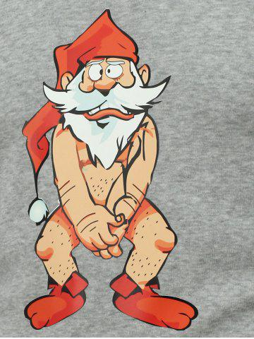 Outfit Crew Neck Long Sleeve Bare Father Christmas Print Sweatshirt - 3XL GRAY Mobile