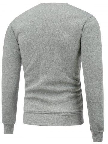 Outfit Crew Neck Long Sleeve Bare Father Christmas Print Sweatshirt - 2XL GRAY Mobile