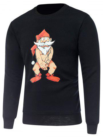 Affordable Crew Neck Long Sleeve Bare Father Christmas Print Sweatshirt