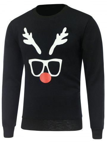 Shops Crew Neck Long Sleeve Christmas Deer Horn Print Sweatshirt