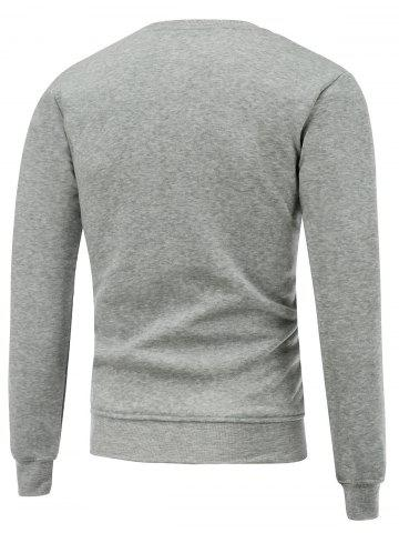 Online Crew Neck Long Sleeve Christmas Deer Horn Print Sweatshirt - 3XL GRAY Mobile