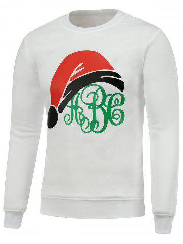 Outfits Crew Neck Long Sleeve Christmas Hat Print Sweatshirt - M WHITE Mobile