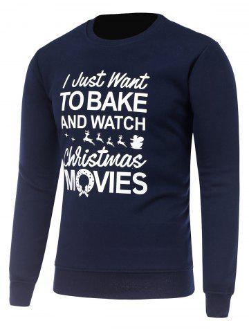 Latest Crew Neck Long Sleeve Christmas Graphic Print Sweatshirt - XL CADETBLUE Mobile